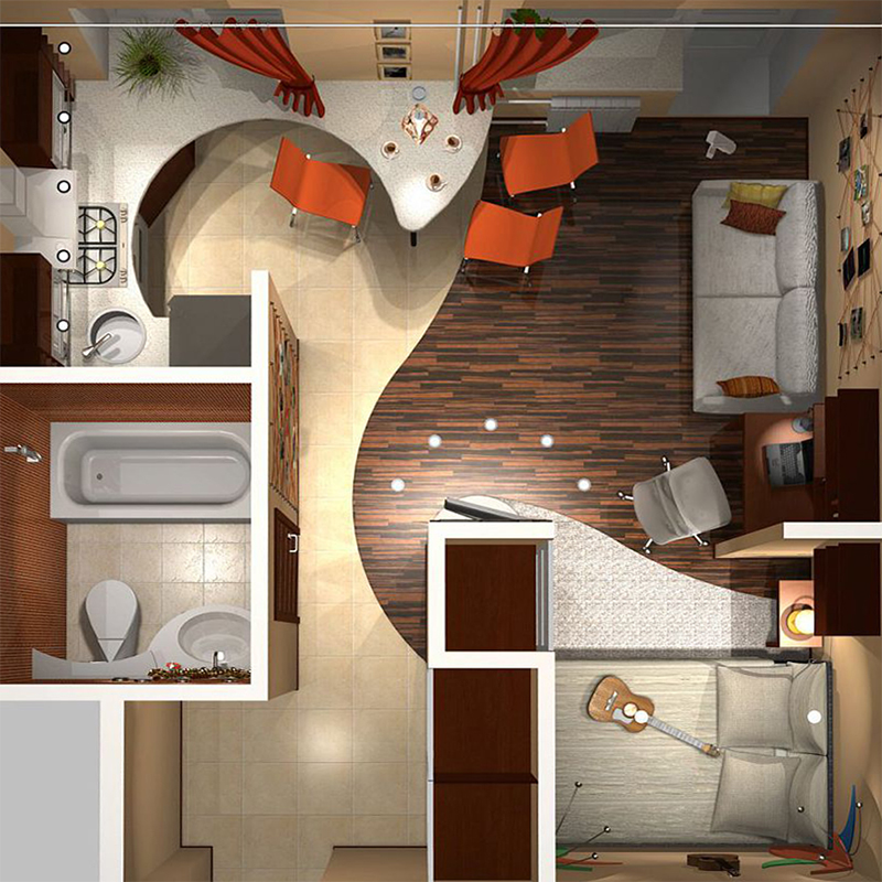 Дизайн интерьера однокомнатной хрущевки фото
